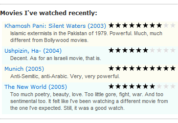 WP Movie Ratings wordpress plugin in action (recently watched movies)