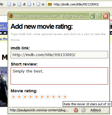 WP Movie Ratings wordpress plugin in action (Firefox bookmarklet)
